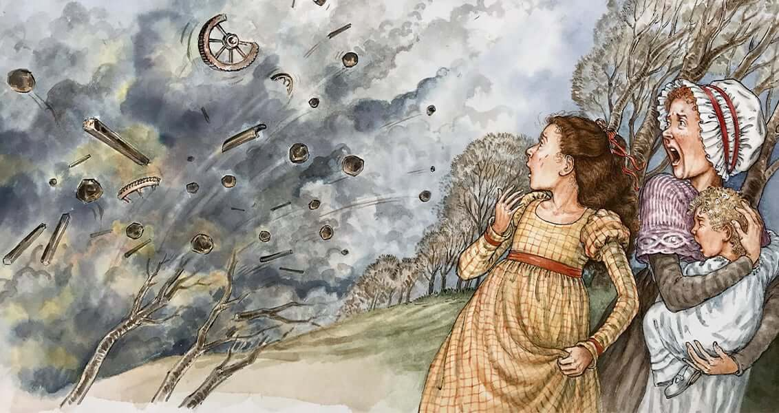 Illustrated image showing a big explosion and a woman and children gasping