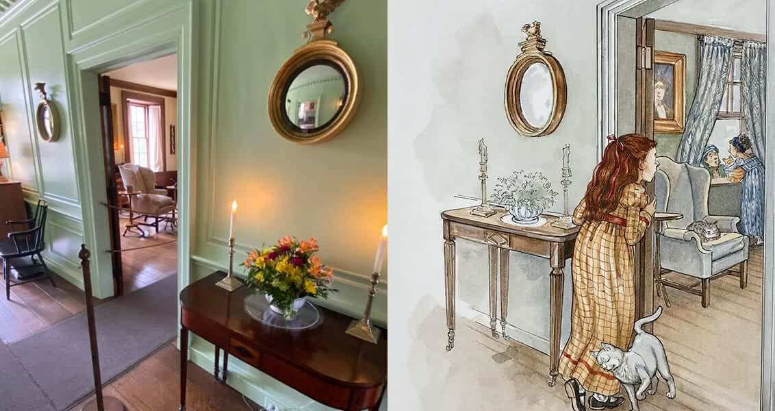Modern day photo of the actual parlor next to the illustration from the book with a little girl in the same parlor