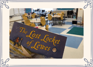 Lost Locket book in front of a classroom