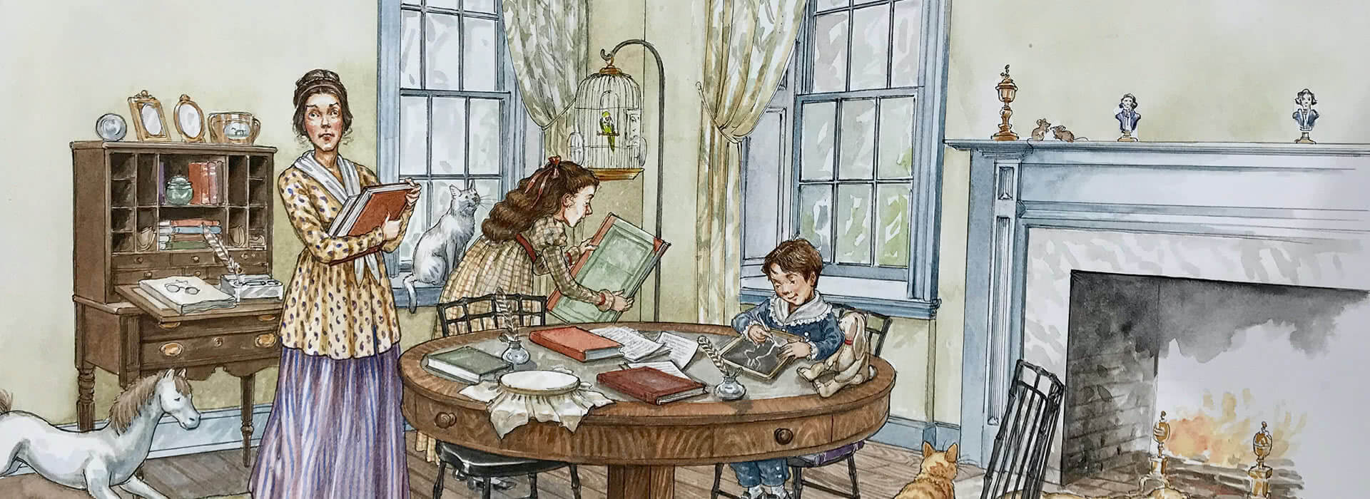 Book illustrating showing teacher and children in a room working on school-work